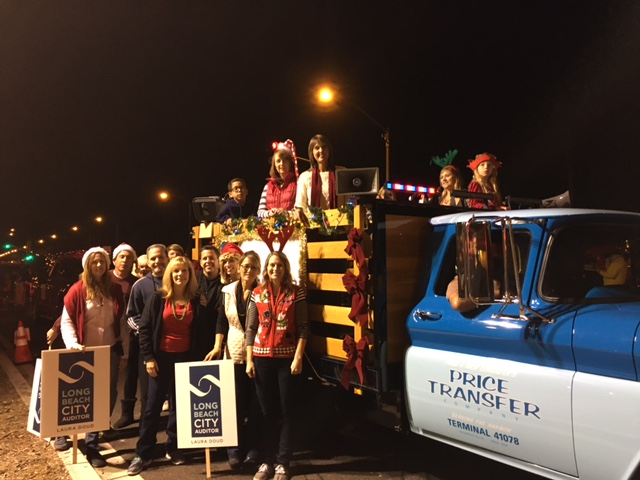 City Auditor Doud & Office Staff at the Belmont Shore Christmas Parade