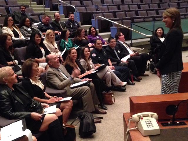 City Auditor Laura Doud speaking to Leadership Long Beach