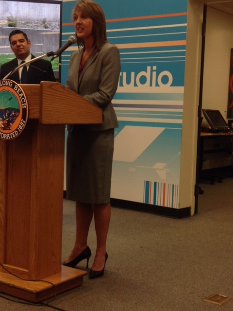 City Auditor Laura Doud with Mayor Garcia for Digital & E-Government Best Practices Report