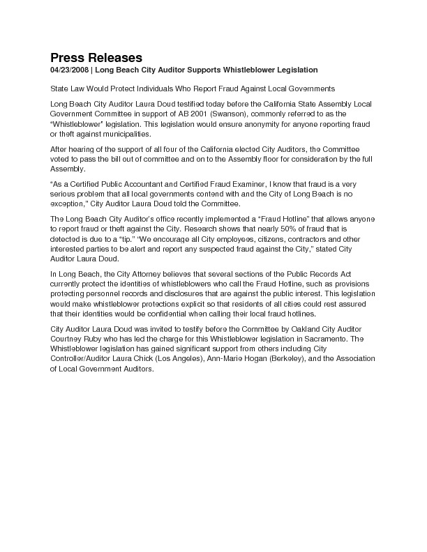 Press Releases | Long Beach City Auditor